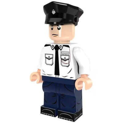 Minifig POLICE Officer White Shirt with Tie - Minifigs