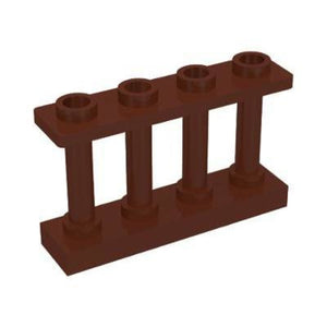 Minifig Reddish Brown Fence 1 x 4 x 2 Spindled with 4 Studs - Dioramas