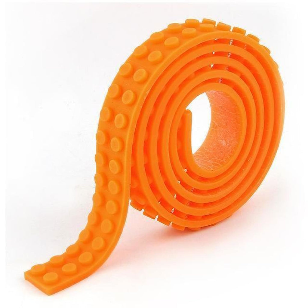 Minifig Silicon Dot Tape (3 Long) - Orange - Baseplate