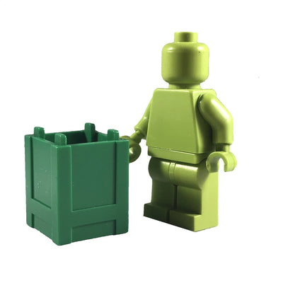 Minifig Small Stackable Container or Crate Green - Dioramas