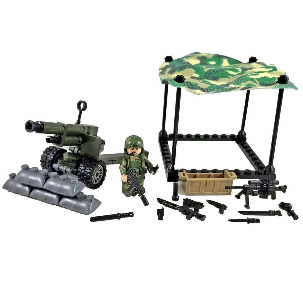 Minifig U.S. Marines Artillery with CAMO Netting Set 4 of 4 - Sets