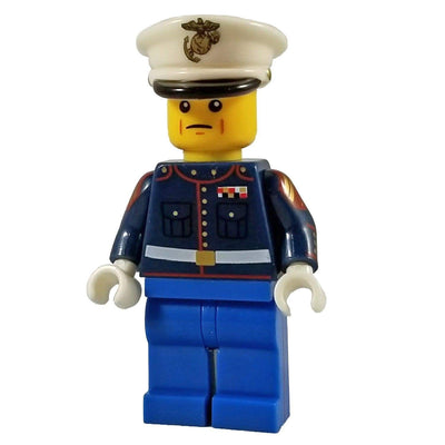 Minifig U.S. Marine Dress Blues with Blue Pants Corporal Yellow Head - Minifigs