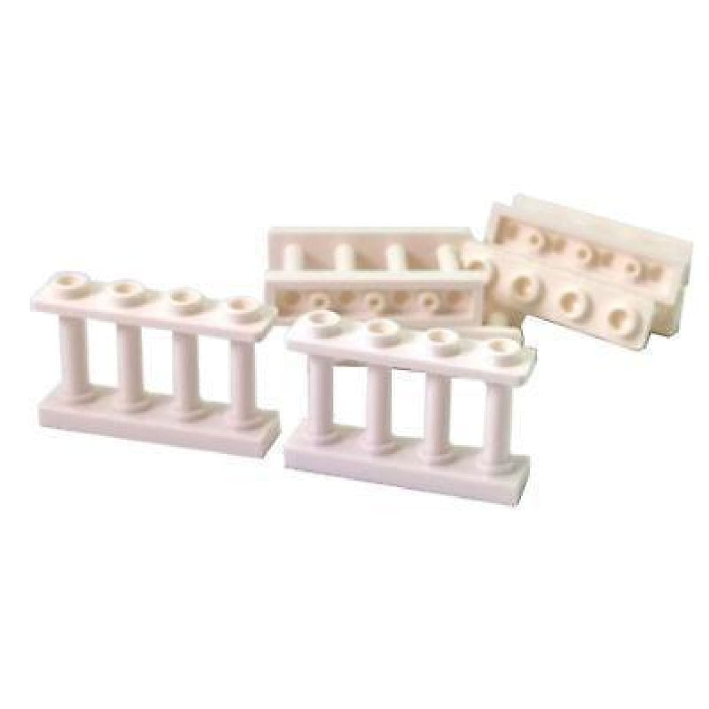 Minifig White Fence 1 x 4 x 2 Spindled with 4 Studs - Dioramas
