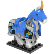 Minifig White Horse With Blue Shaffron - Animals