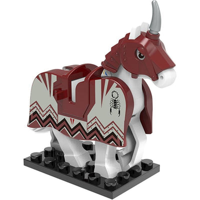 Minifig White Knights Horse With Maroon Shaffron - Animals