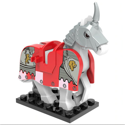 Minifig White Knights Horse with Silver Shaffron - Animals