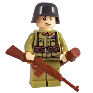 Minifig World War II Chinese Soldier with Helmet - Minifigs