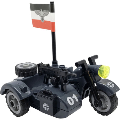 Minifig World War II German Motorcycle with Sidecar - Motorcycles