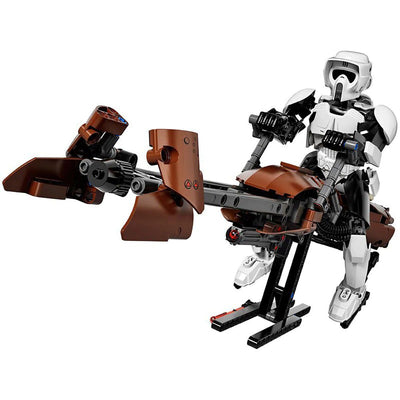 Brick Scout Space Trooper on Speed Bike Figure (452 Pieces) - Buildable Figure