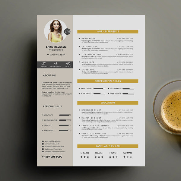 Curriculum Vitae Cv Resume Templates On Word Gold 55 Off