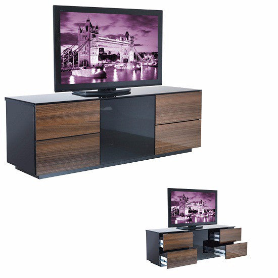 Portland Modern Black and Walnut Finish TV Stand With Drawers