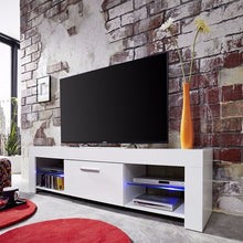 Springfield LCD TV Stand in White Gloss Fronts & Glass Shelves 1