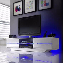 Pittsburgh White High Gloss TV Stand with LED Lights 1