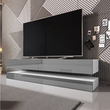 "Selsey Aviator 1400 TV Stand for TVs up to 48"" - White Gloss & Grey Gloss"