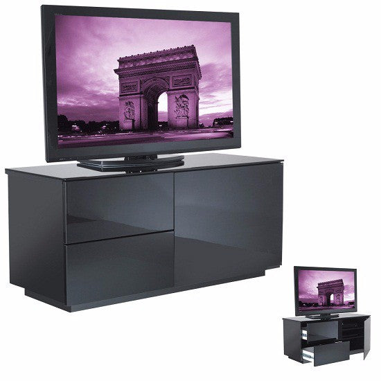 Minsk Black Gloss TV Stand With Glass Door