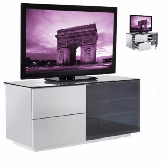 New York White Gloss TV Stand & Glass Door