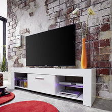Springfield LCD TV Stand in White Gloss Fronts & Glass Shelves 3