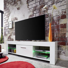 Springfield LCD TV Stand in White Gloss Fronts & Glass Shelves 4