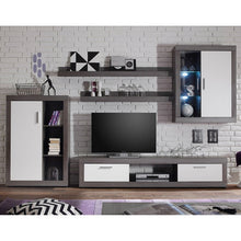 Swiss Wall TV Unit Living Room Set in Smoke Silver & LED Lights 2