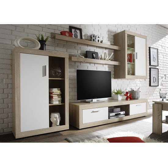 the latest d67e8 a6895 Swiss Wall TV Unit Living Room Set in Oak with LED Lights