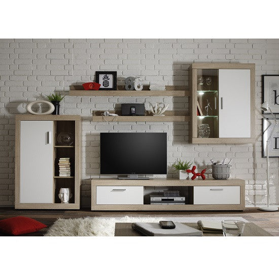 Swiss Wall TV Unit Living Room Set in Oak with LED Lights 1