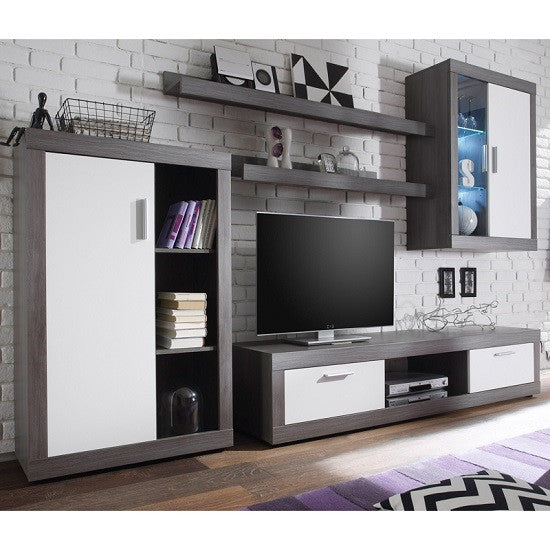 Swiss Wall TV Unit Living Room Set in Smoke Silver & LED Lights