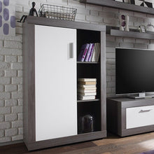 Swiss Wall TV Unit Living Room Set in Smoke Silver & LED Lights 4