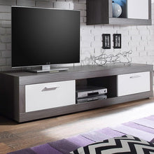 Swiss Wall TV Unit Living Room Set in Smoke Silver & LED Lights 5