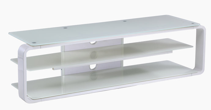 Strengthen Glass Shelf Bracket Attachment TV Stand White