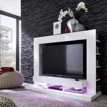 Seattle White TV Wall Unit with Gloss Fronts & Shelving 3