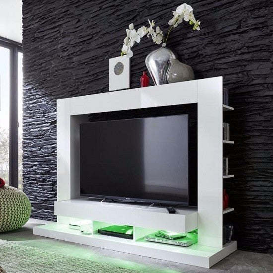 Seattle White TV Wall Unit with Gloss Fronts & Shelving 1