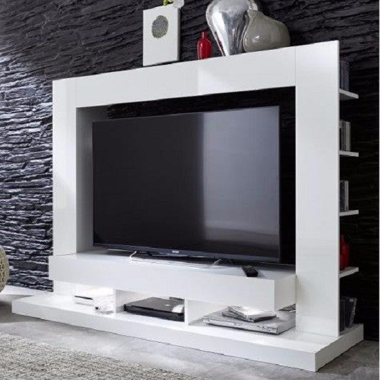 Seattle White Tv Wall Unit With Gloss Fronts Amp Shelving