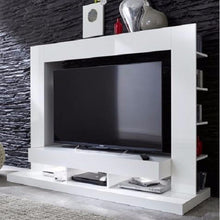Seattle White TV Wall Unit with Gloss Fronts & Shelving 2