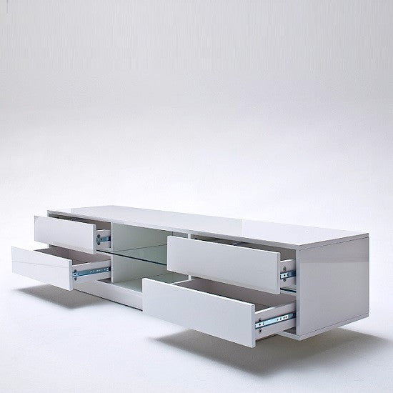 low priced 06e56 ba6f5 Verona Modern White High Gloss TV Stand with Drawers & LED Lights
