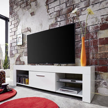 Springfield LCD TV Stand in White Gloss Fronts & Glass Shelves 2