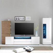 Diego Wide White Gloss TV Stand with LED Lighting Set 3
