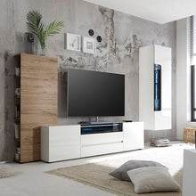 Diego Wide White Gloss TV Stand with LED Lighting Set