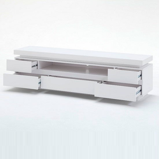 Florida Lowboard White Tv Stand In High Gloss With Led Tvcabinets