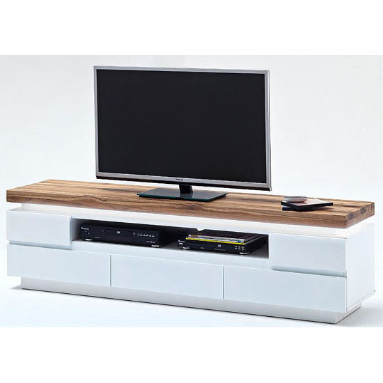 Houston TV Stand in White Matt & Knotty Oak Top With Led Light