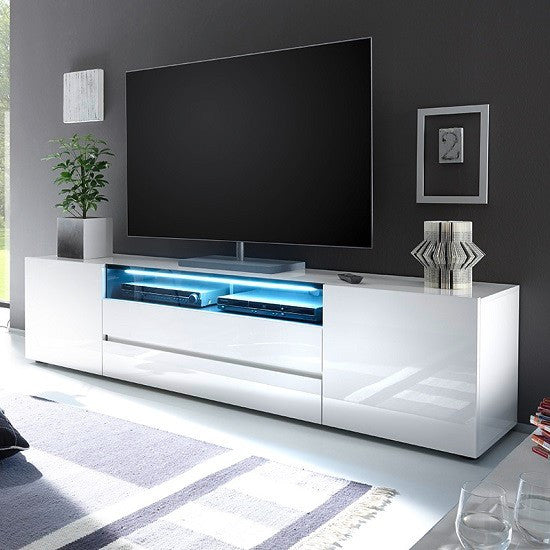 Diego Wide White Gloss TV Stand with LED Lighting 1
