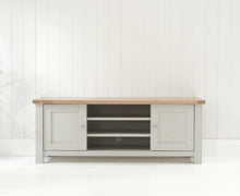 Belfast TV Cabinet Oak And Grey With Removable Shelves-3