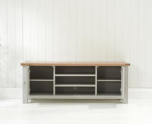 Belfast TV Cabinet Oak And Grey With Removable Shelves-5