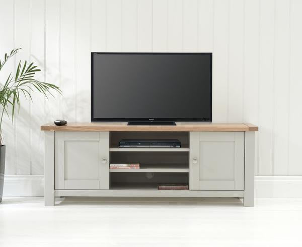 Belfast TV Cabinet Oak And Grey With Removable Shelves