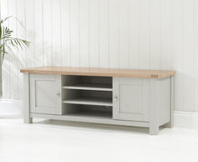 Belfast TV Cabinet Oak And Grey With Removable Shelves-1