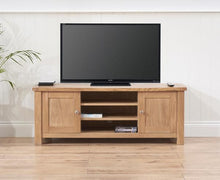 Belfast TV Unit With Oak Finish And Removable Shelf