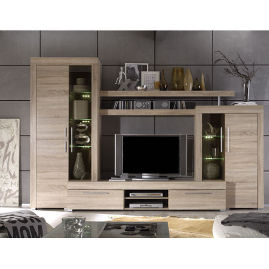 Calgary TV Wall Living Room Set in Sawn Oak