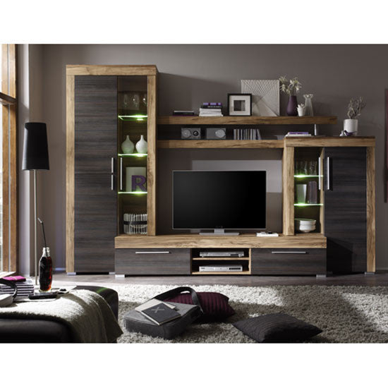 Calgary Wall TV Unit Living Room Set in Walnut with LED Lights