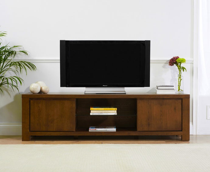 Bradford Dark Solid Oak Large TV Unit With Shelves And Cabinets