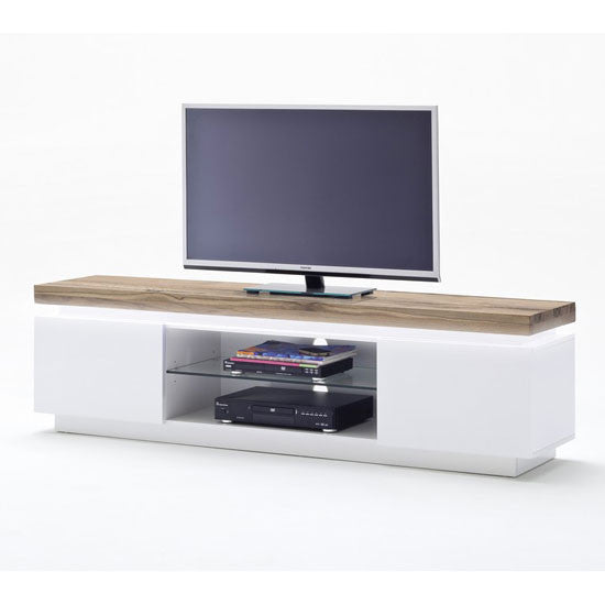 Cascades Lowboard Matt White TV Stand With Knotty Oak Top & LED Light