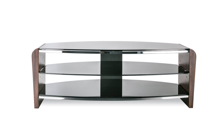 Contemporary Triple Rack TV Stand Walnut